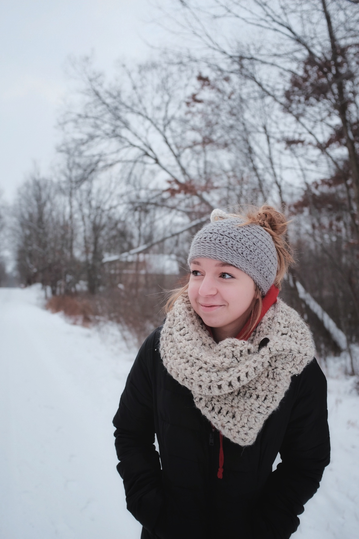 My lovely niece and friend, Kathryn, sporting a handmade, crocheted hat and scarf set.