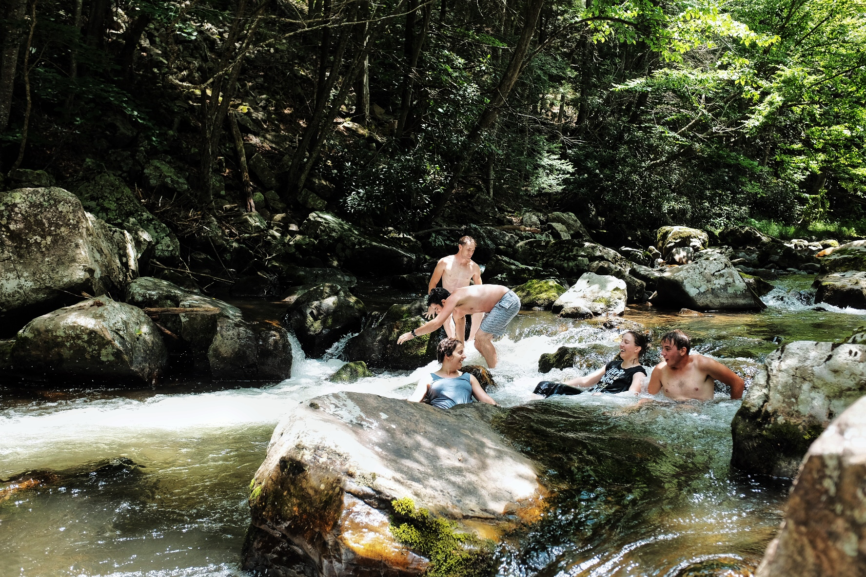 The Swimming Hole - We took our sweet time, stopping when we felt like it, and once when we found a swimming hole decided to take the plunge. It was really a lovely little spot to jump in; a rock jutted into the stream hollowing out a 5' deep place just right for a cannonball.It was one of the best parts of the day.