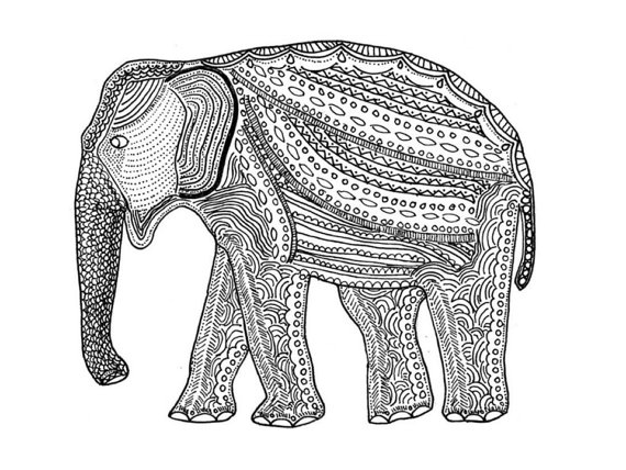 Elephant - ink on paper