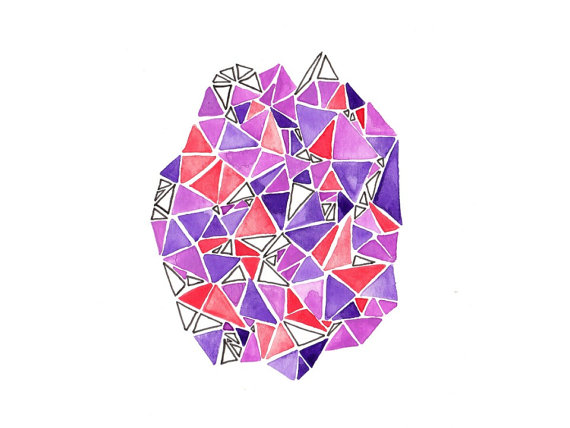 Floating geometric triangles - watercolor and ink on paper