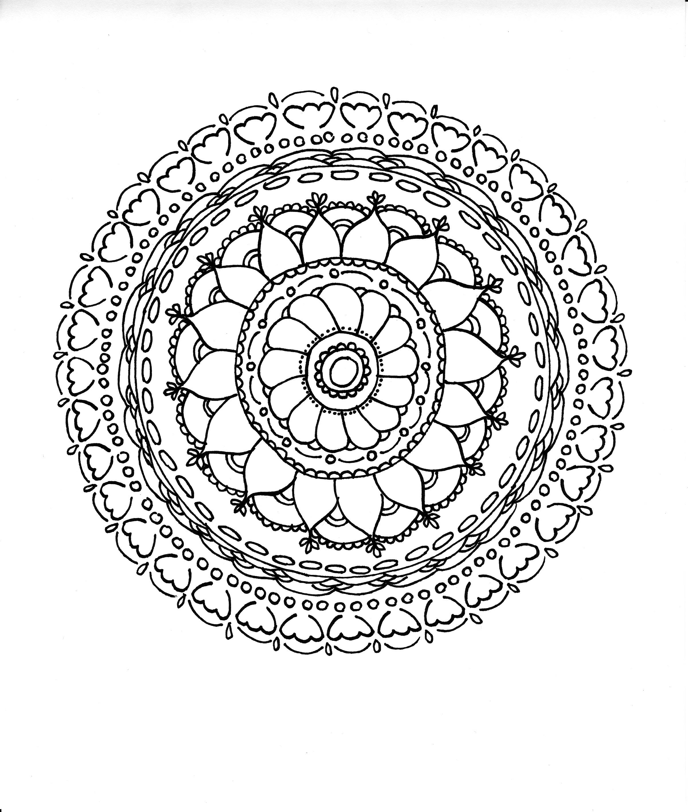 Tulip mandala - ink on paper