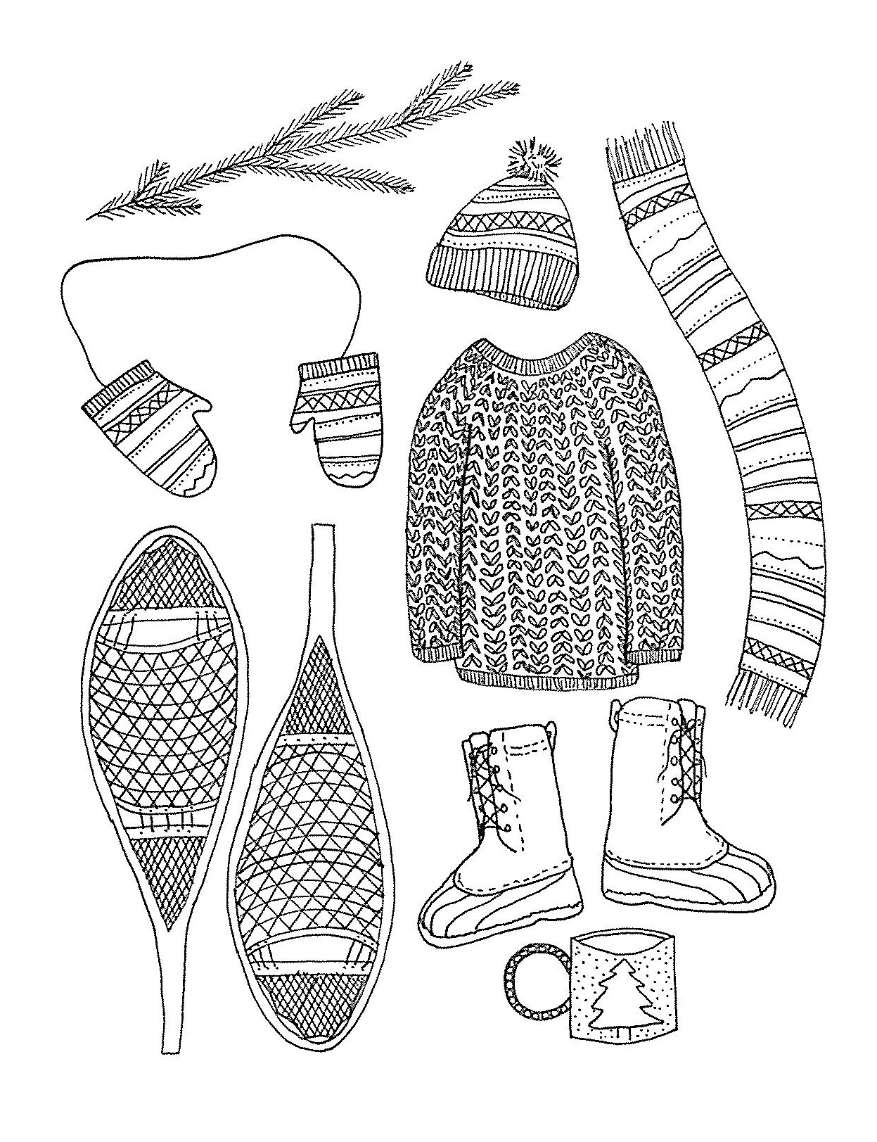 Winter items - ink on paper