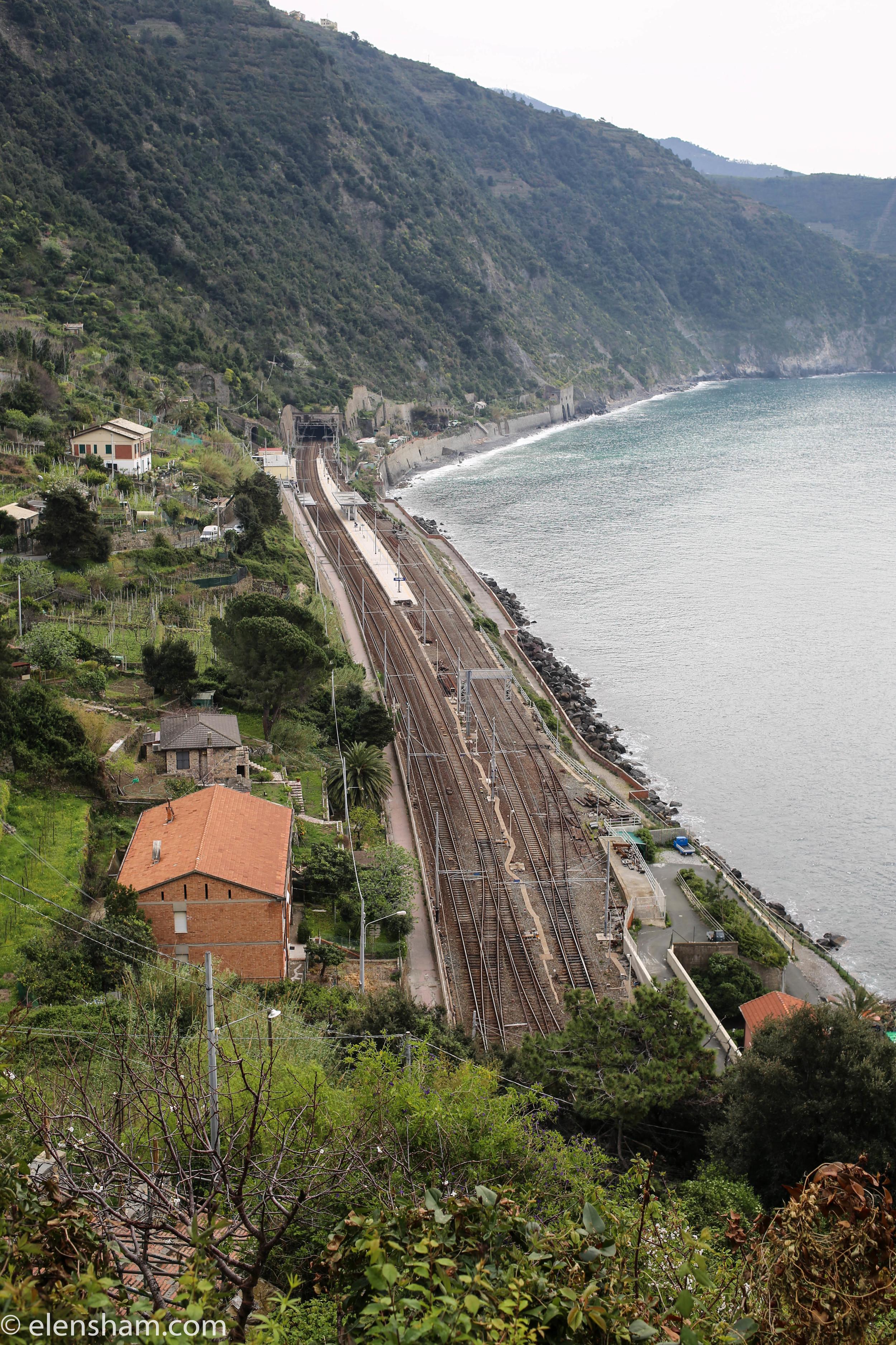 Overlooking train tracks in Corniglia