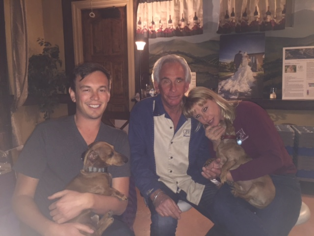 Here are the wiener dogs of GBV... Russ T. Longfellow (aka Rusty) (on the left) and Frank E. Sinatra (on the right). Also in the photo is Wes, Kenny and Christina, winery owners.