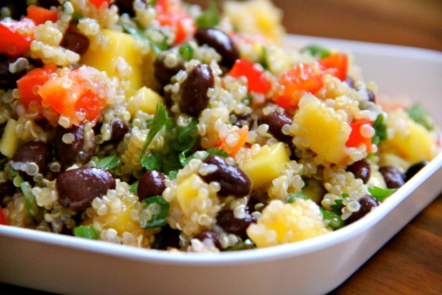 Quinoa Salad with black beans, mango, cherry tomatoes.