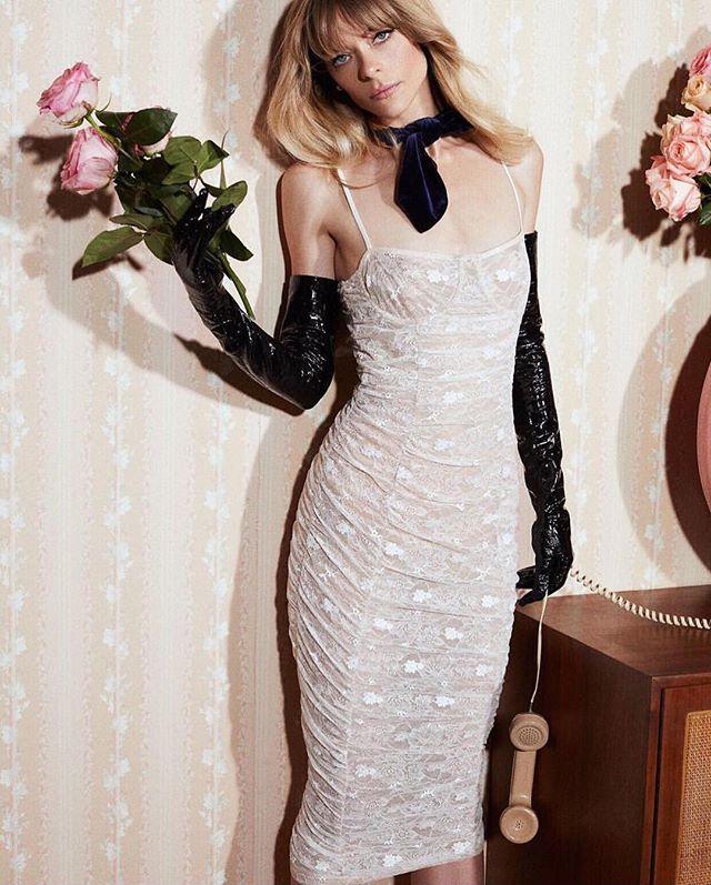 ♥️ B A E ♥️ ... @forloveandlemons + @jaime_king providing the perfect wedding reception get up! #fashionbride . #forloveandlemons #jaimeking #campaign #lace #necktie #velvet #florals #flowers #leathergloves #mididress #receptiondress #bridalshowerinspo #editorial #bridalinspo #coolbride #luxe #weddinginspo