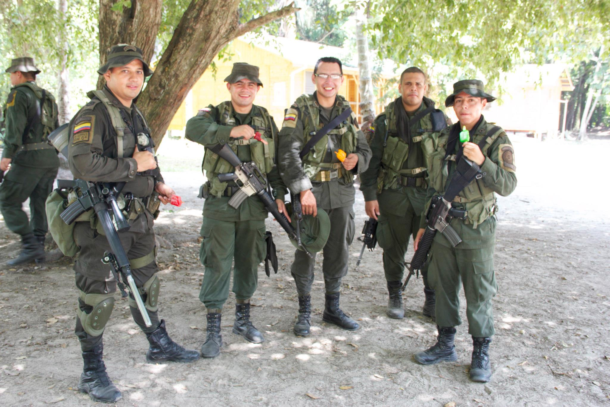 Colombian Army eating popsicles.