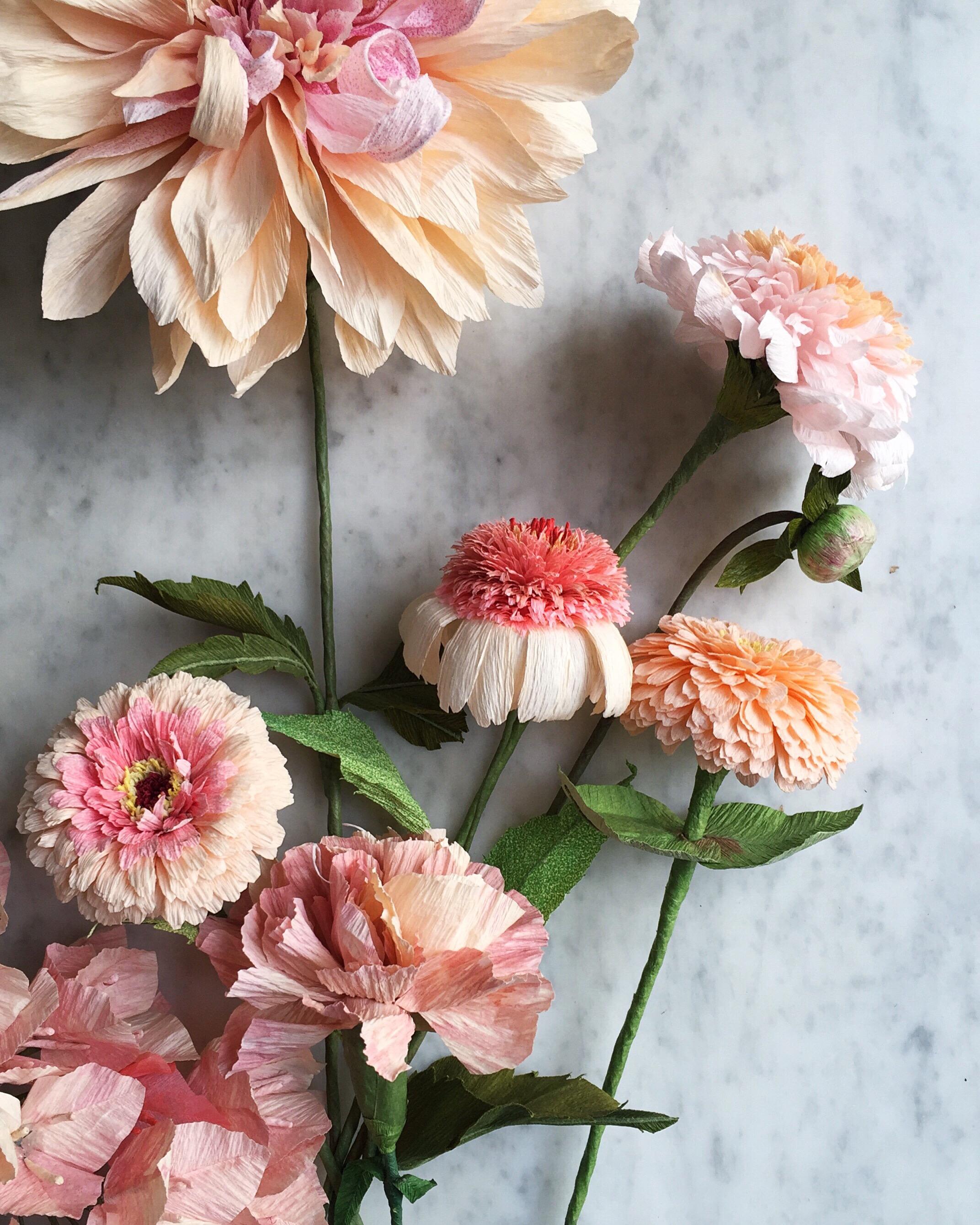 Dahlias, coneflowers and zinnias