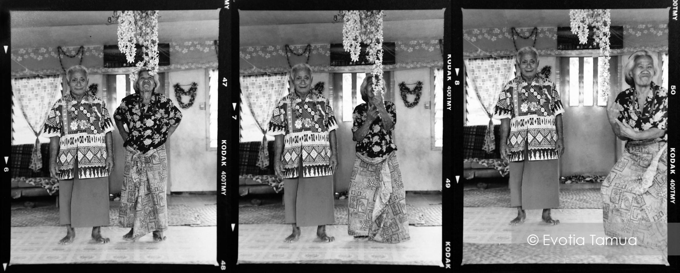 Lemana Faolua with his wife Alofa in their Salelesi home. Samoa 2007