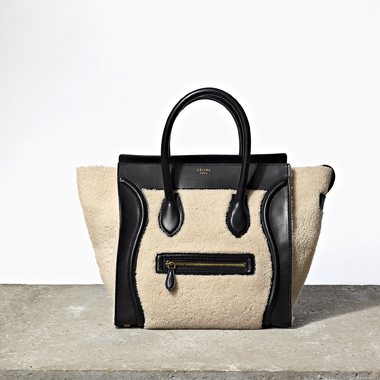 W Shearling Luggage Tote
