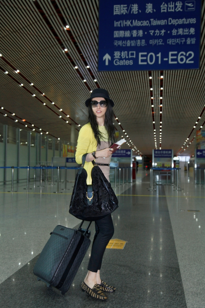 Li Bing Bing in Gucci at the Beijing Airport