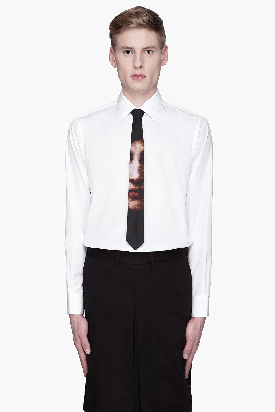 Givenchy Black Cotton Madonna Print Tie