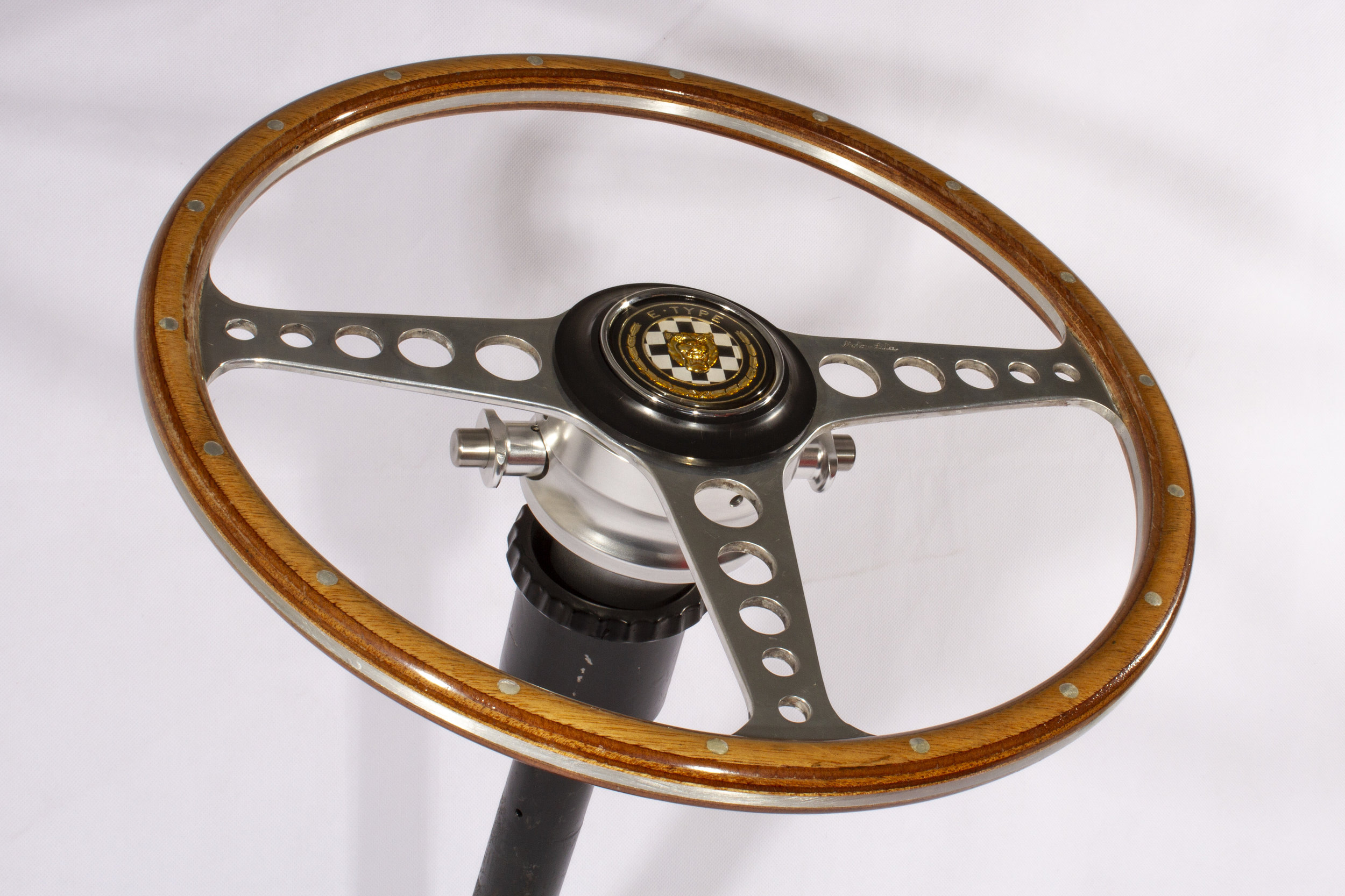 New design Jaguar E-type Quick Release on a Moto-Lita wheel with OEM fitting.