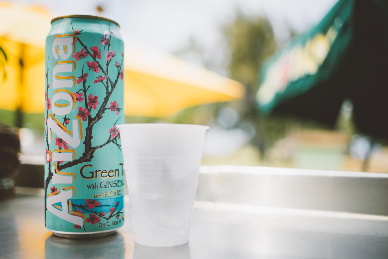 Arizona Green Tea with some ever so classy glassware.
