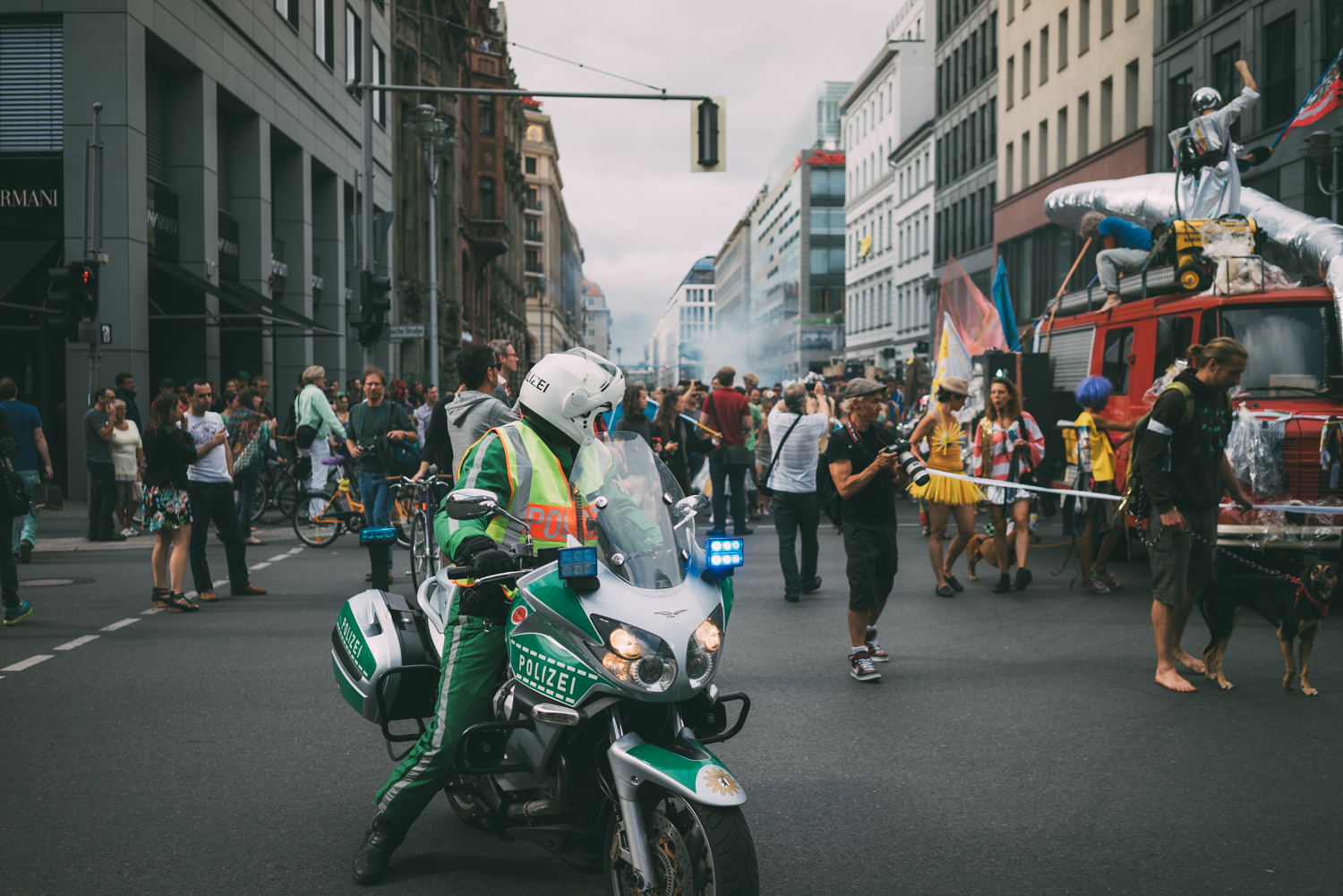 Police escorted the rally as it went up Freidrichstrafze