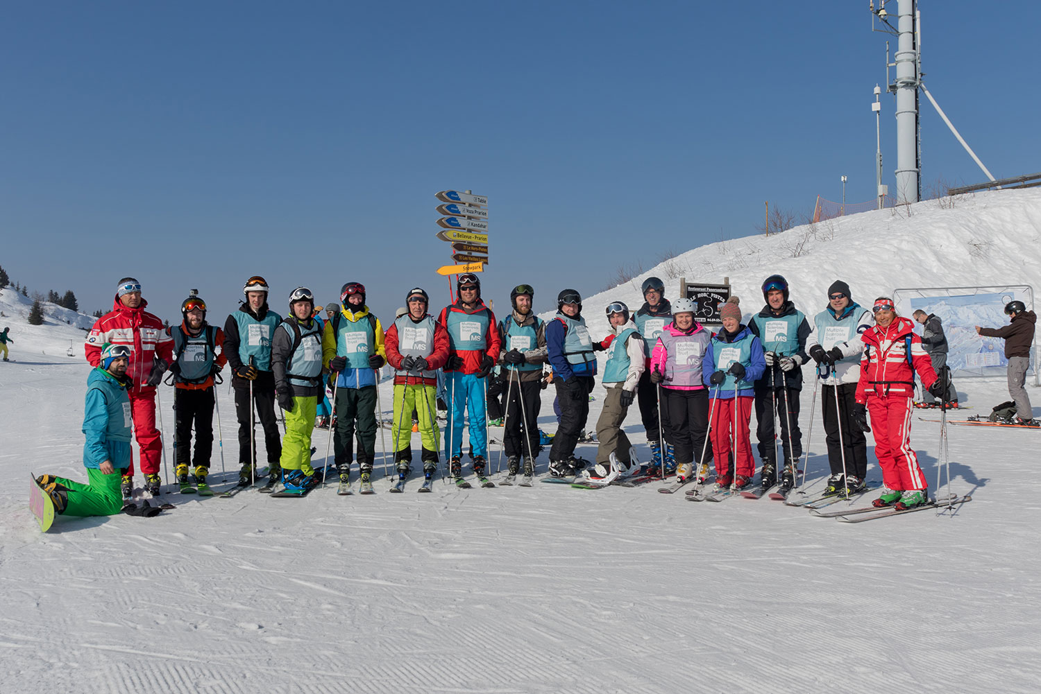 All 15 participants and there two lovely guides at the top of the Prarion lift.