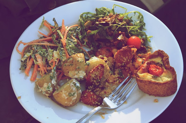 Alfresco feast in Hannah's garden from the  Seeds and Stitches archive