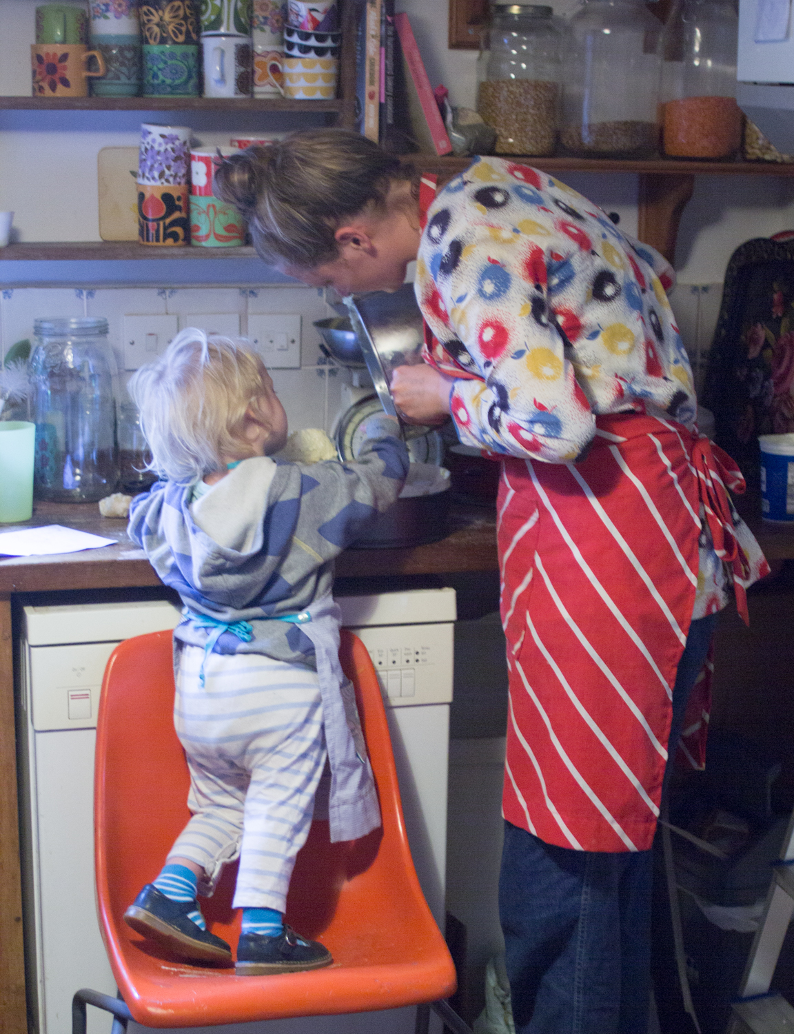 Making orange, almond and polenta cake with a toddler