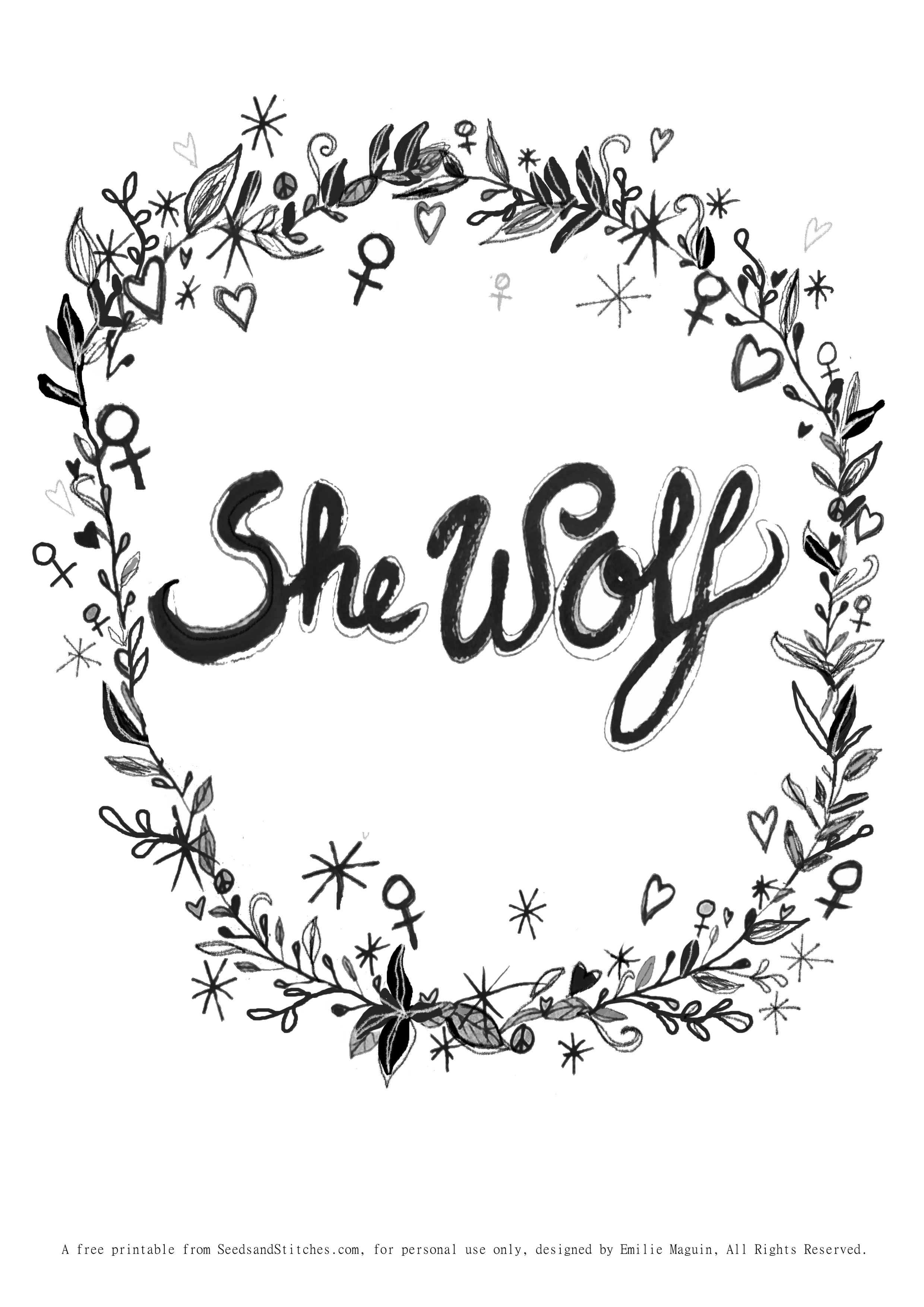 She Wolf, Galantines Day free printable by Emilie Maguin for Seeds and Stitches blog