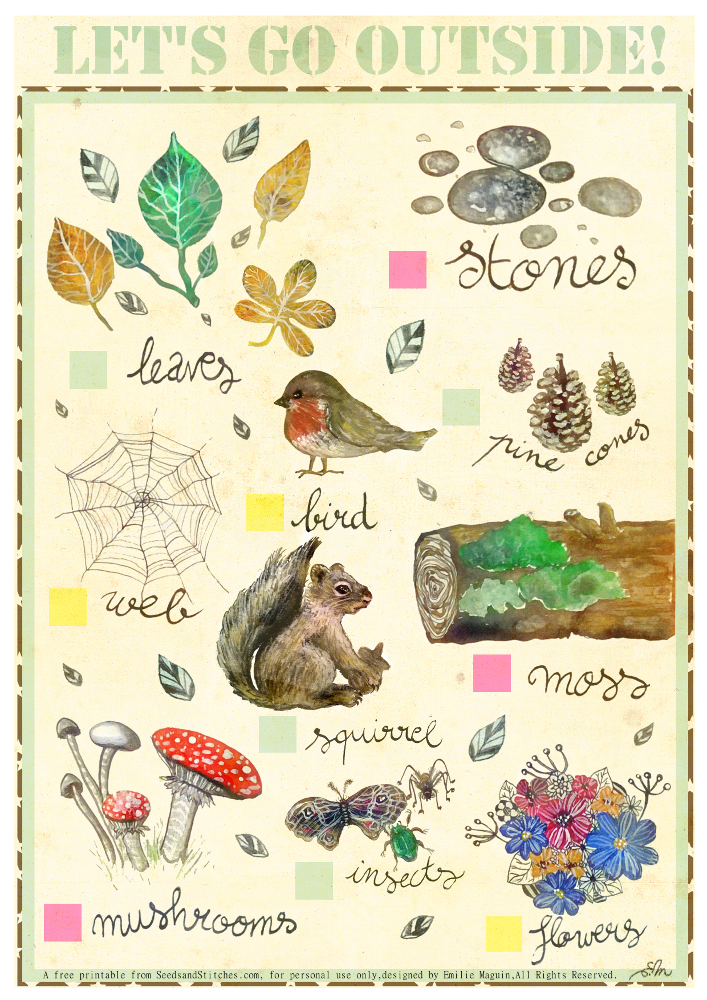 Free printable Nature Bingo by Emilie Maguin | Seeds and Stitches blog