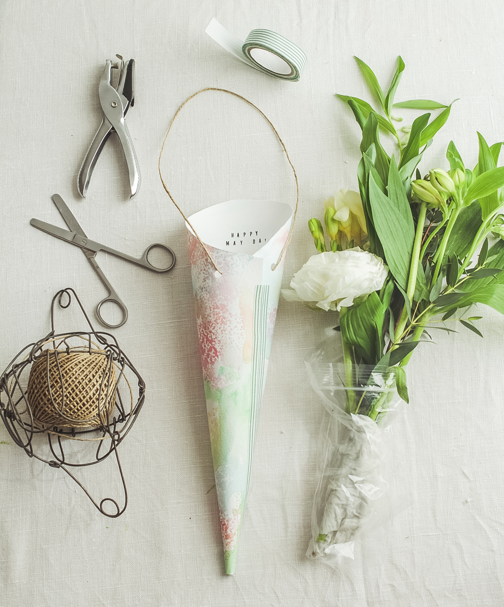 Making cones for May Day Posies | Seeds and Stitches blog