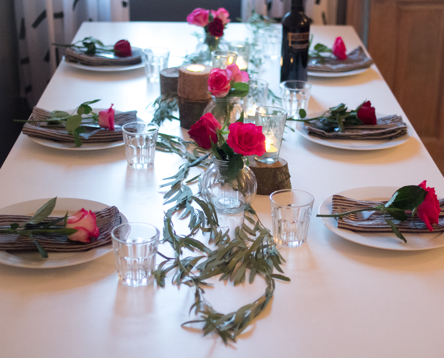 Fairtrade Roses from Marks and Spencers, simple white crockery and stripy linens from Linen Me.