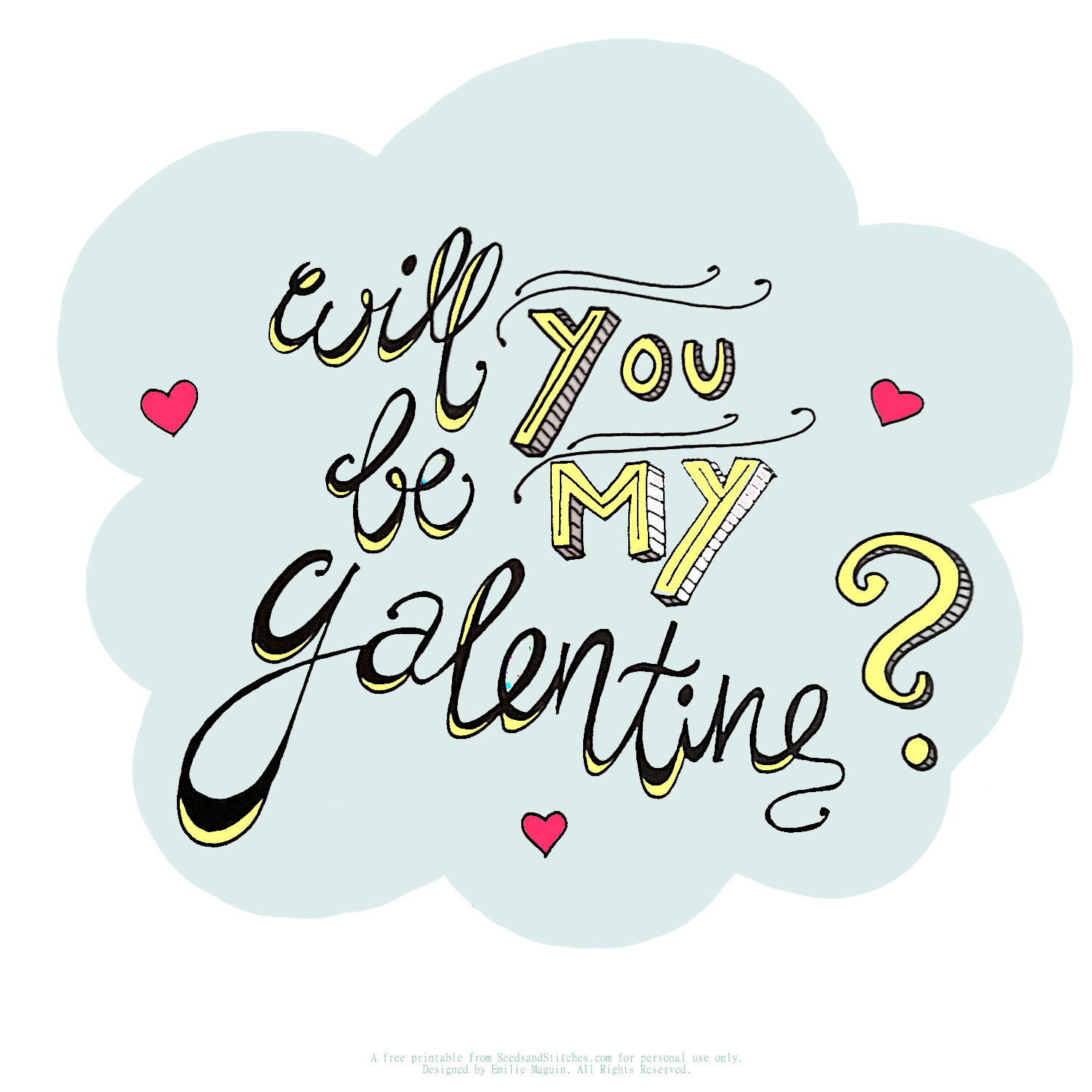 Free printabel/ emailable Galentines card by Emilie Maguin for Seeds and Stitches blog