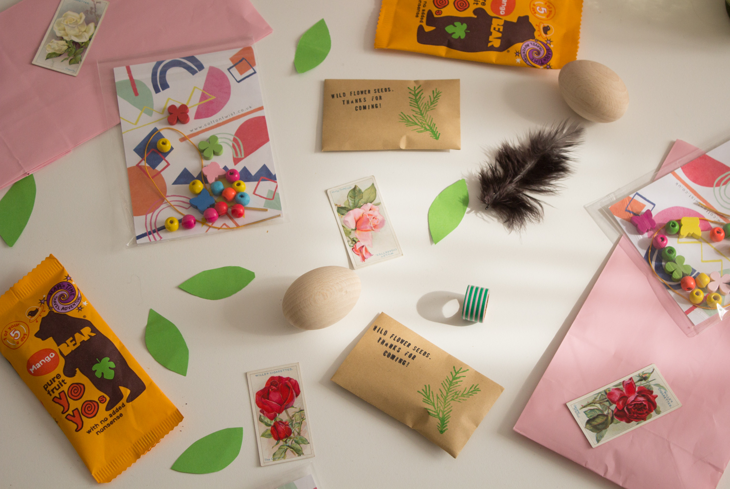 Party bag assembly featuring craft kits from  Cotton Twist-  highly recommended.