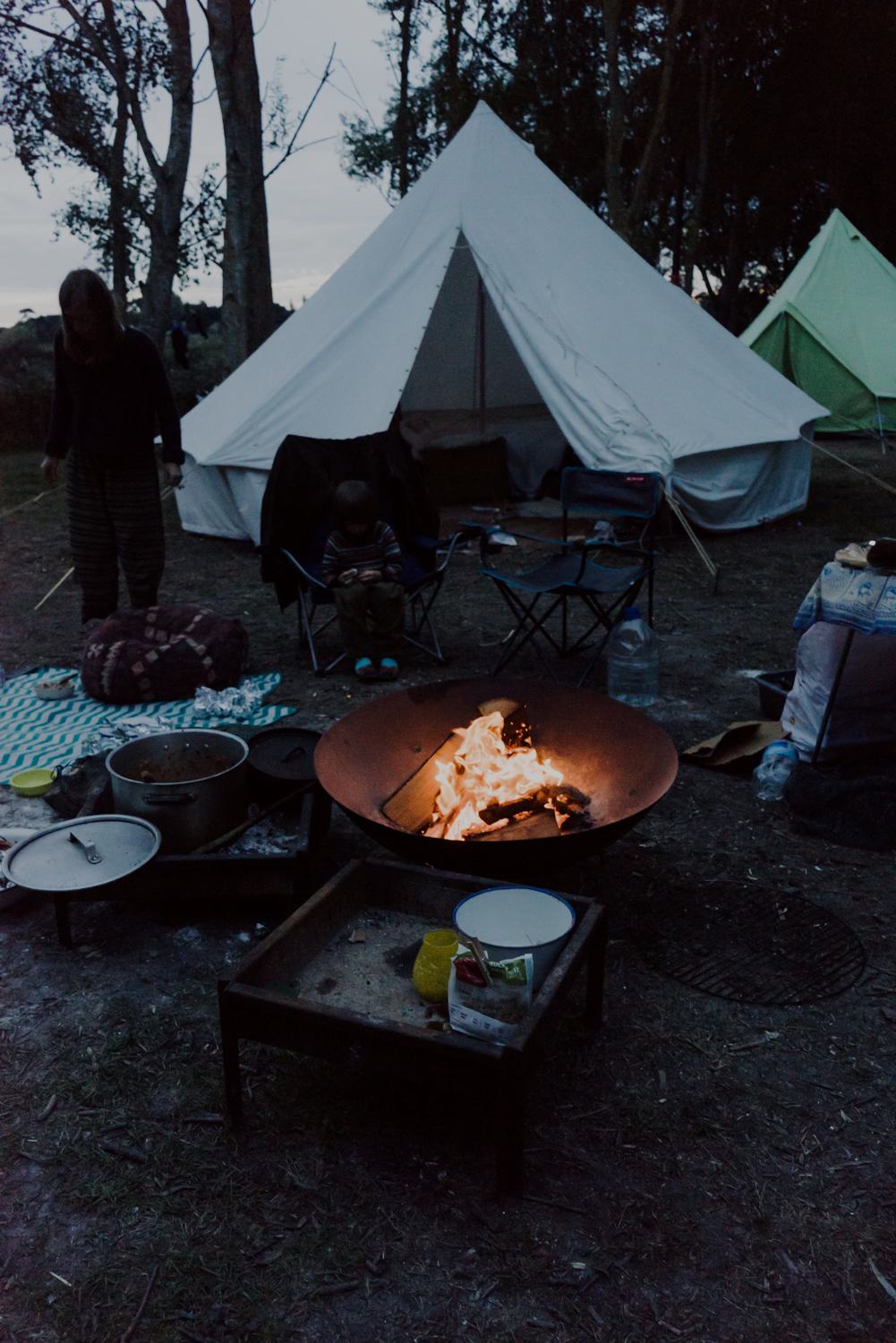 camping with friends at Nethergong