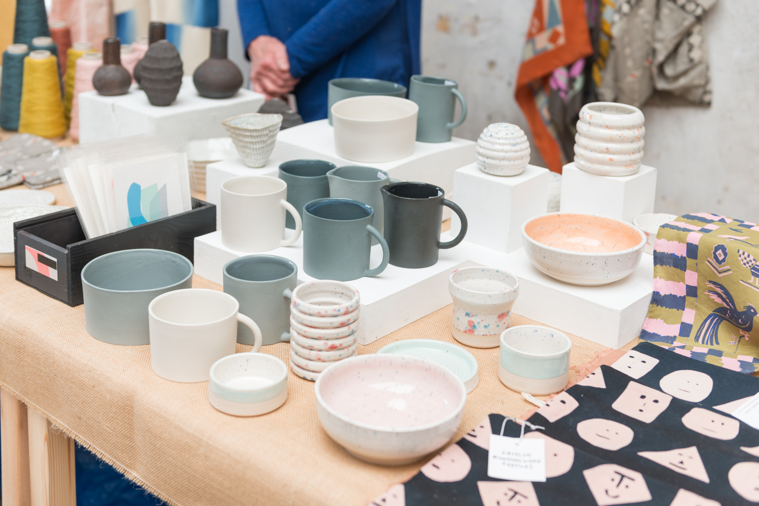 Beautiful hand thrown mugs by Georgie Scully. Peckham craft show 2019.