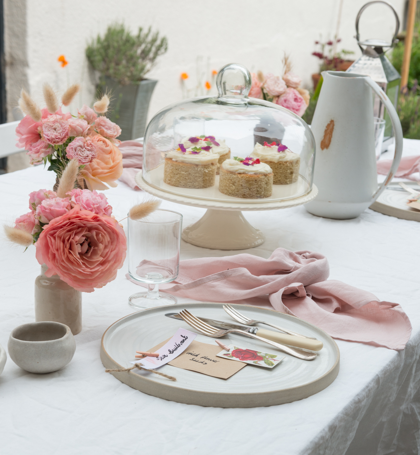 Garden afternoon tea, handmade ceramic plates by Lucy Rutter, Linen table cloth, handmade place settings, watercolour place settings, easy DIY place settings, easy DIY name tags, garden afternoon tea with kids