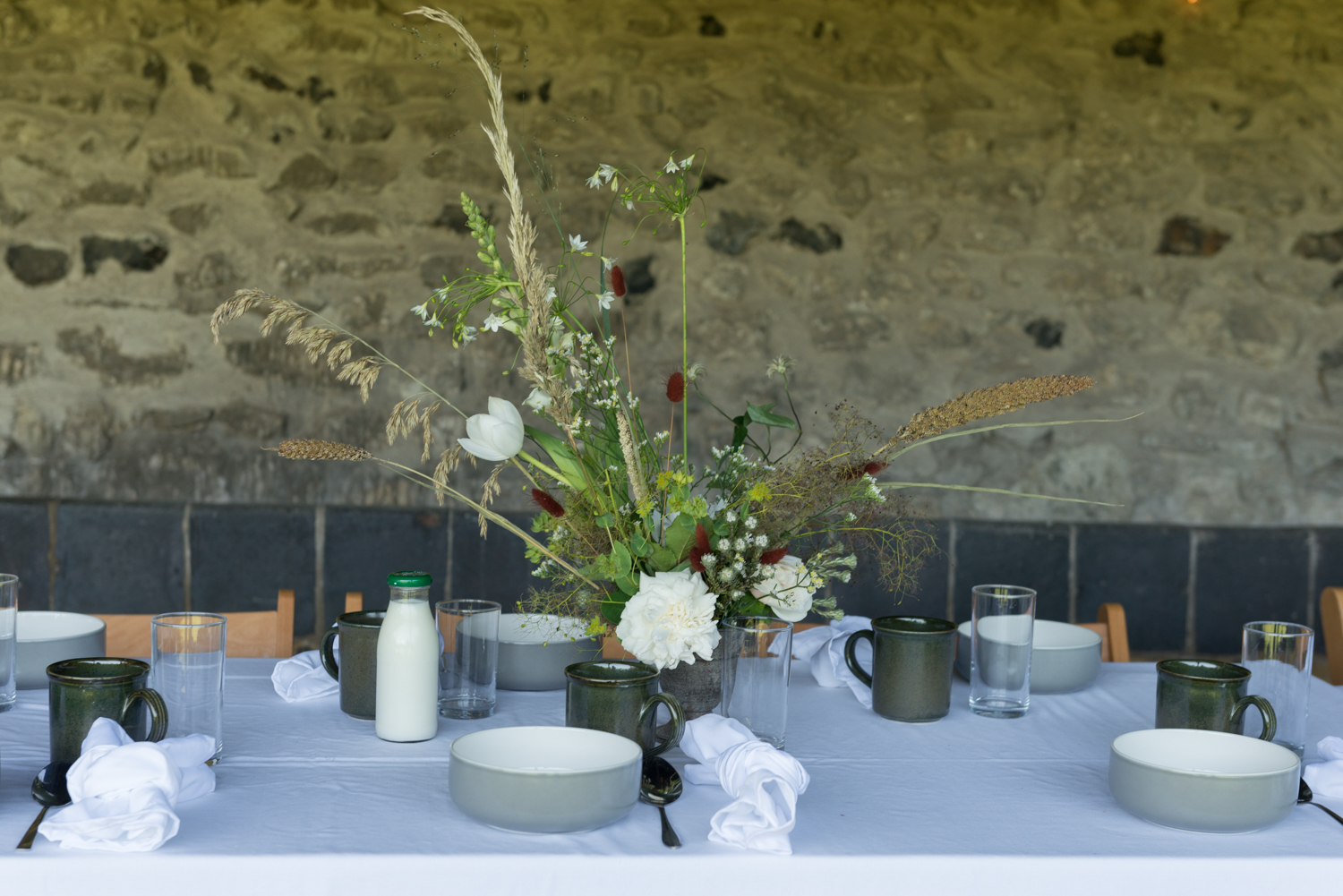 Retreat breakfast table in the barn