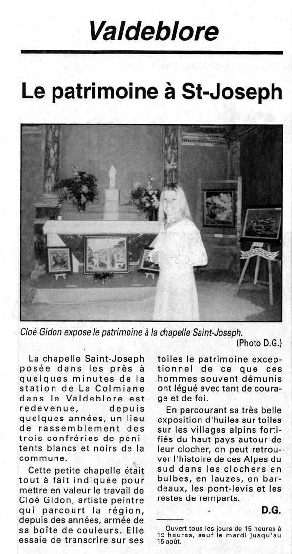 (Nice-Matin - La Colmiane-Valdeblore, Août 2005)