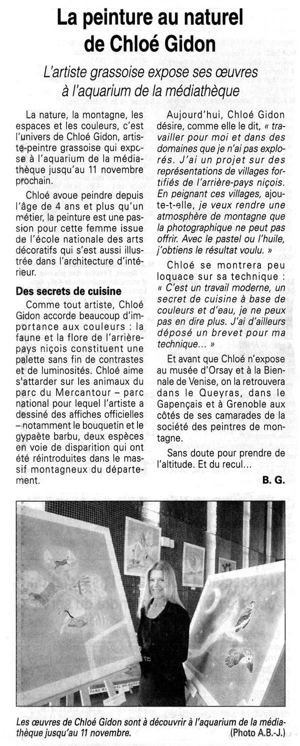 (Nice-Matin - Médiathèque de Mouans-Sartoux, Octobre 2002)