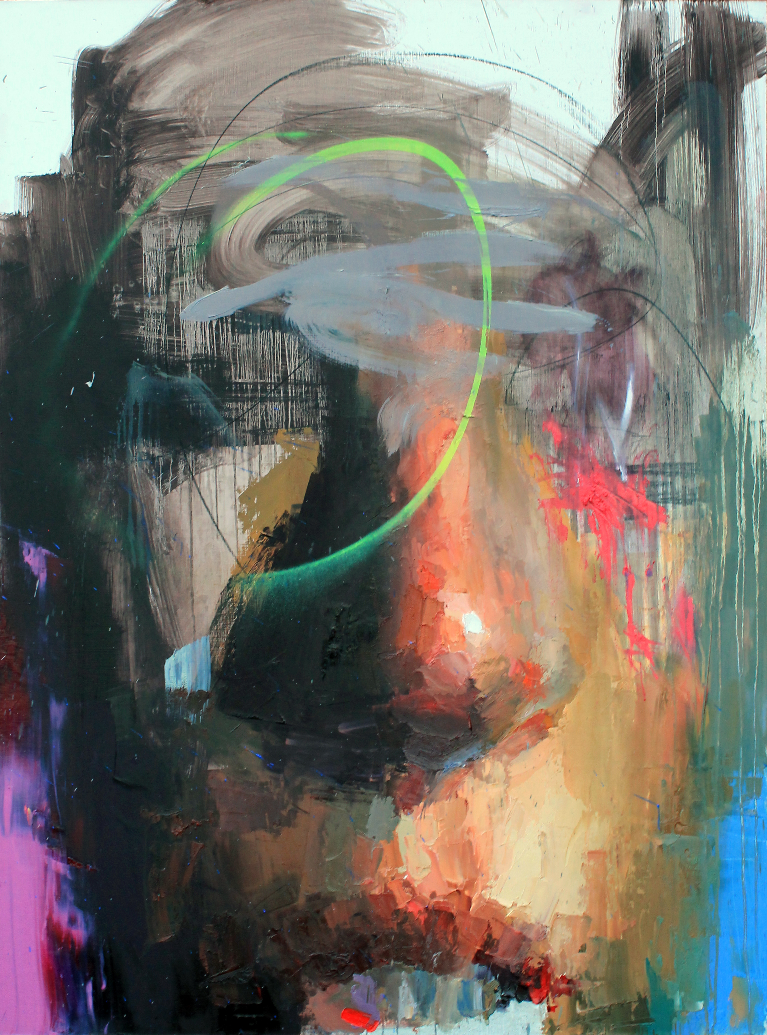 Oil and Spray Paint on Panel, 48 x 36, 2016