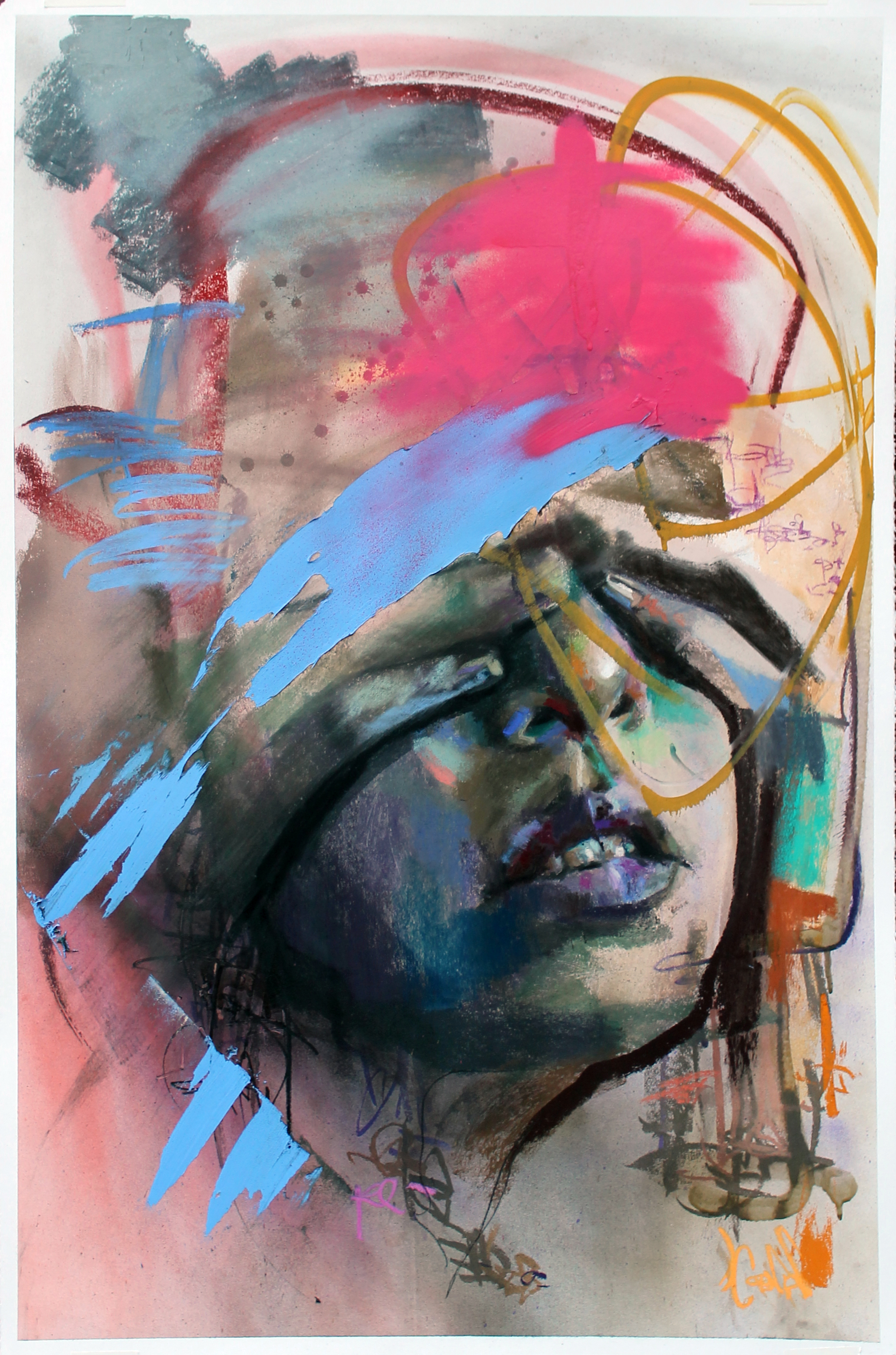 Pastel, Spray Paint, and Acrylic on Stonehenge Paper  40 x 26, 2016