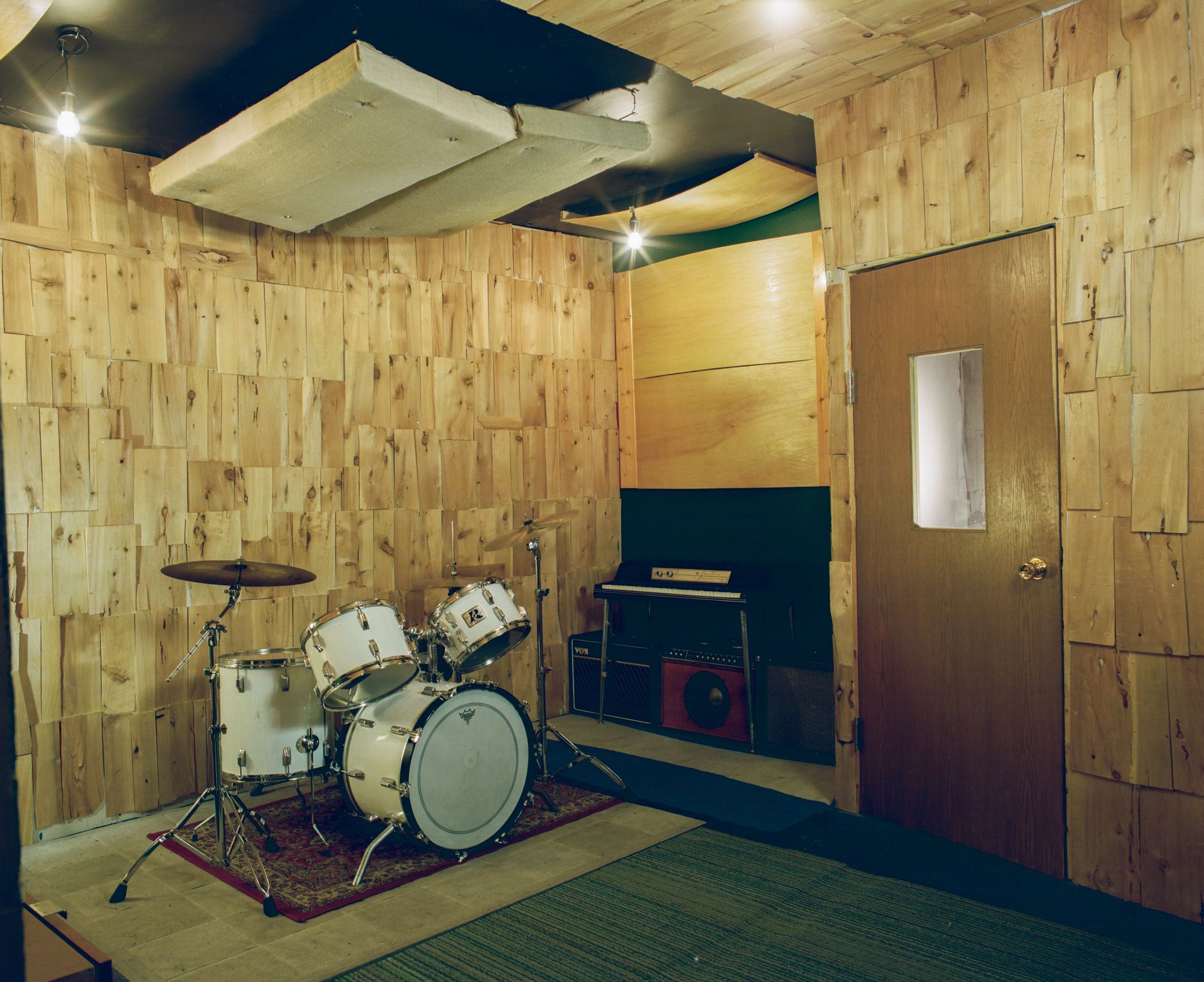 Live Room of Look to Listen Studios with Rogers drums Wurlitzer keyboard and guitar amps