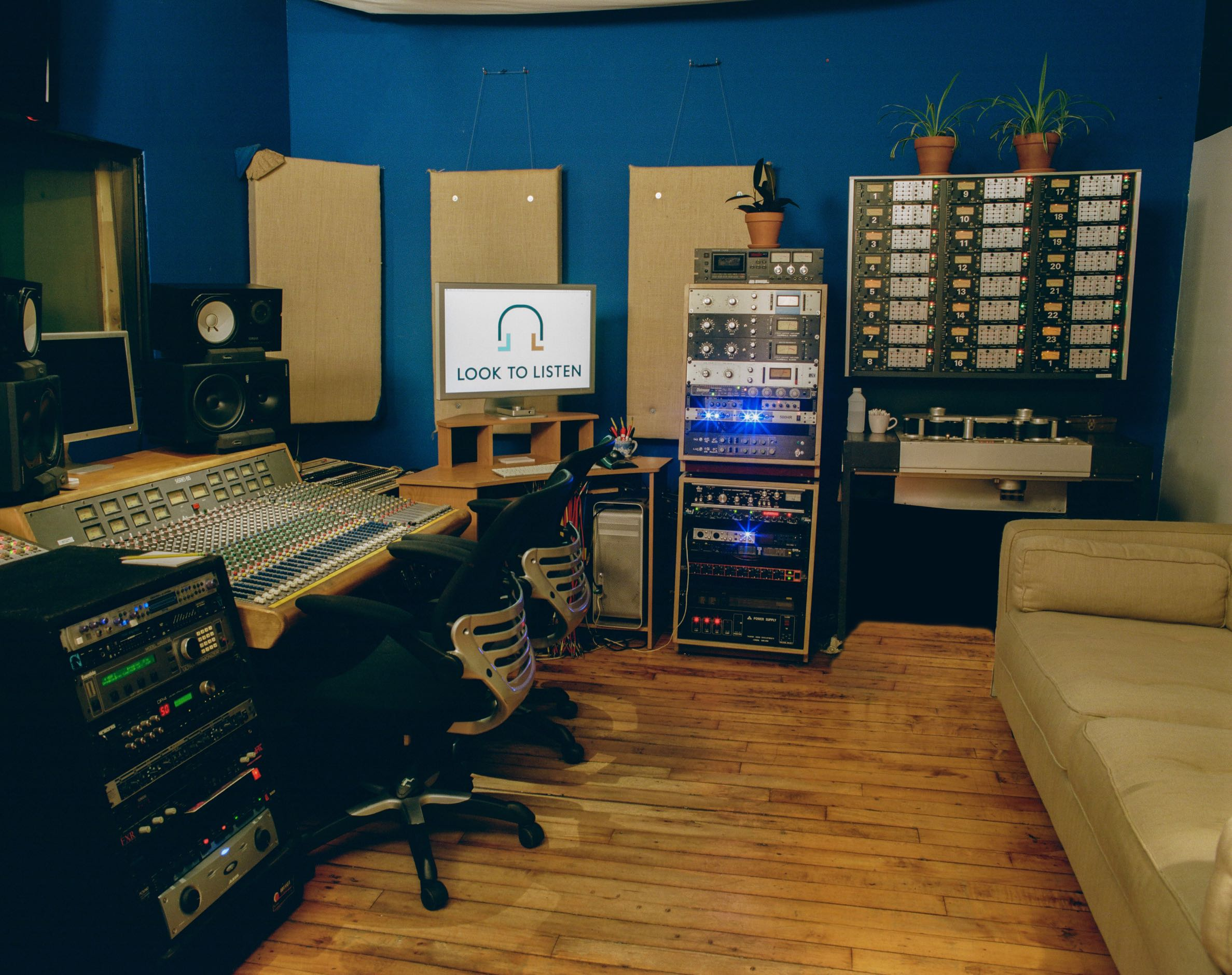 Control Room of Look to Listen Studios with Trident console and rack gear and Studer tape machine