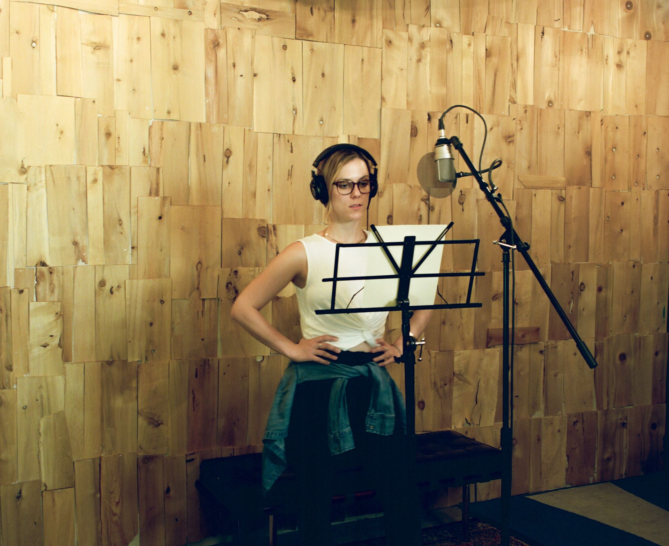 Voice-Over session with Julia Jade Duffy in Look to Listen Studios live room close