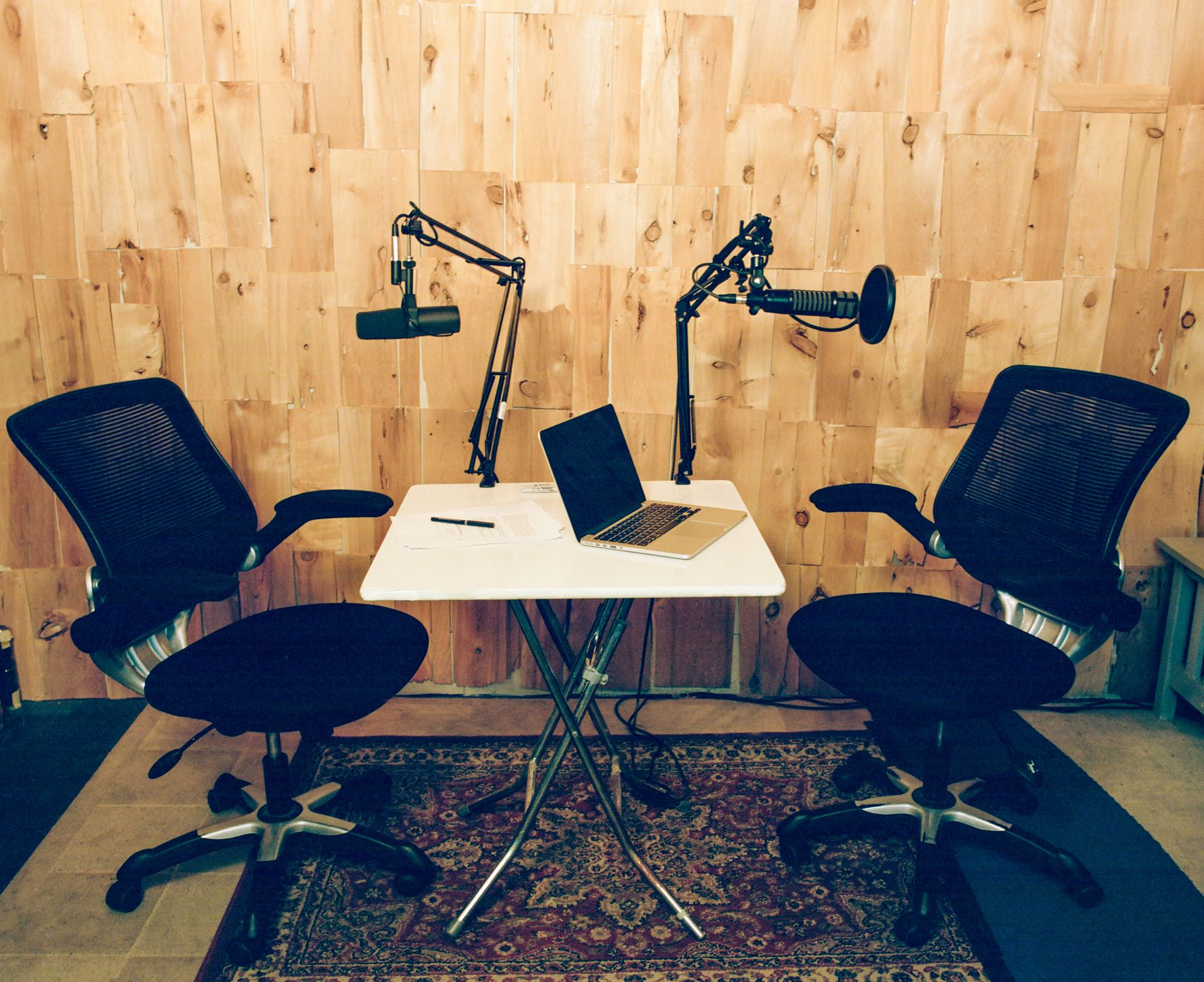 Podcast Setup with Shure SM7 and EV RE20 in Look to Listen Studios Live Room, close