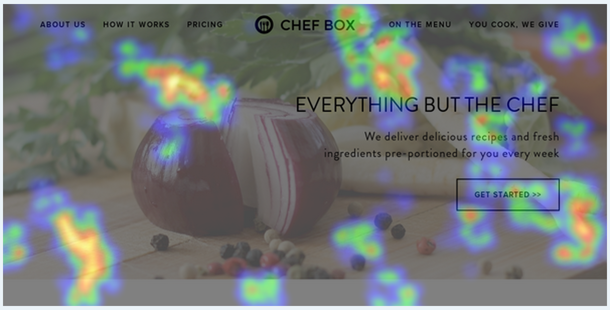 Example - Crazy Egg's Heat Map for  Chef Box Singapore