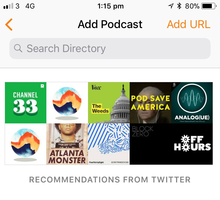 Recommendations from Twitter in Overcast - tucked away under the Add Podcast page
