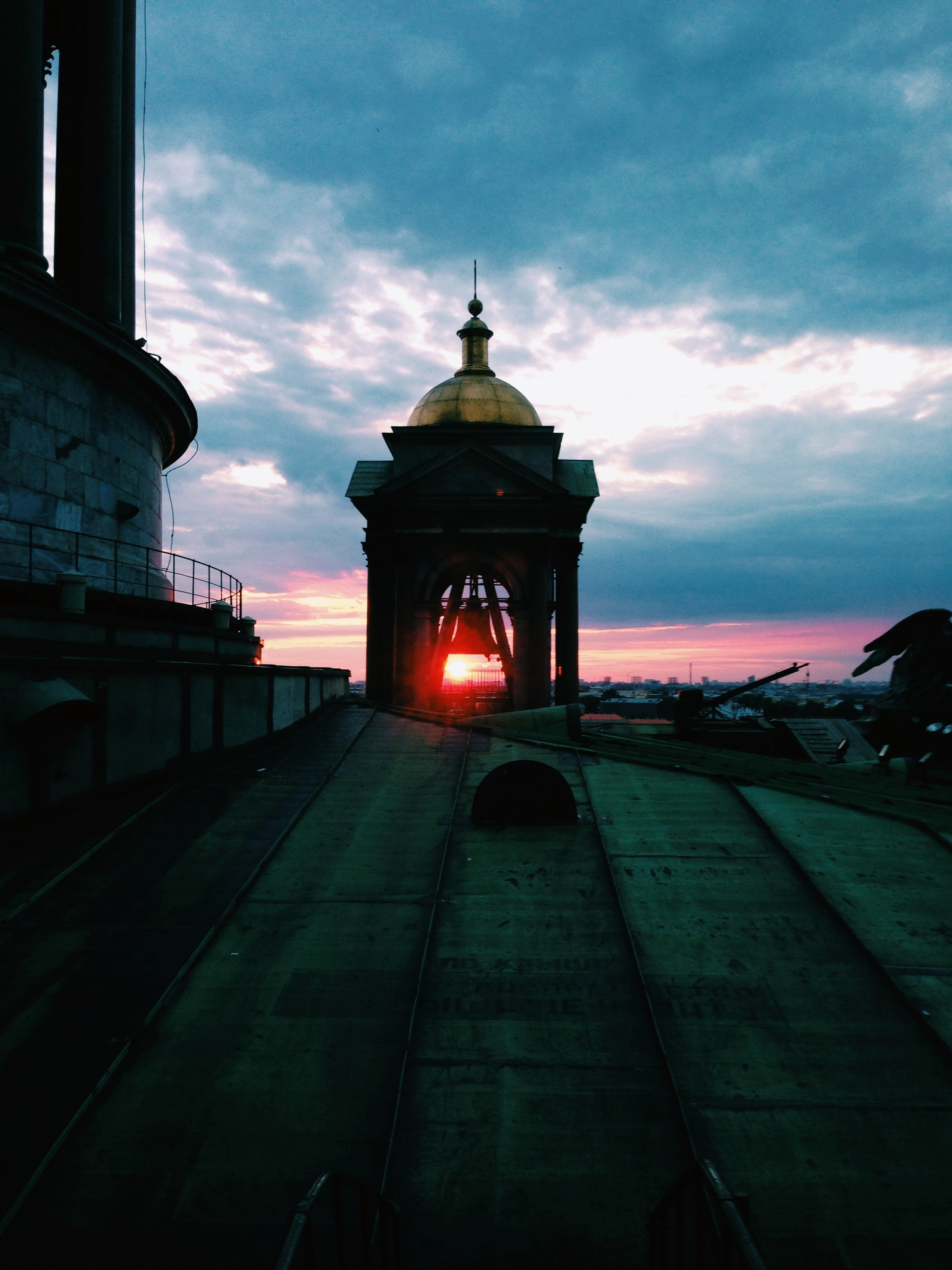 The midnight sunset from the southeast corner tower of the St.Isaac Cathedral