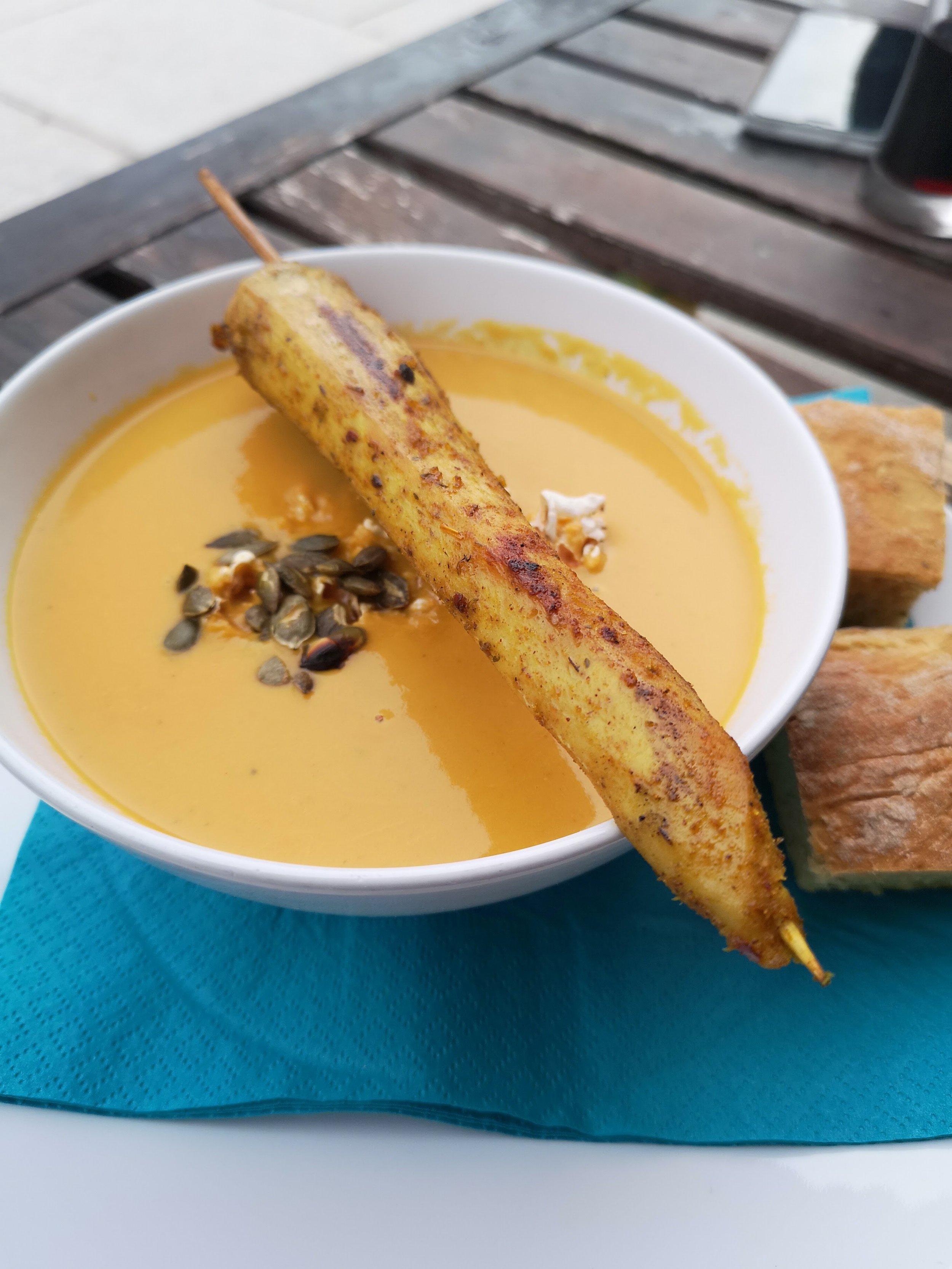 Pumpkin Soup, chicken skewer