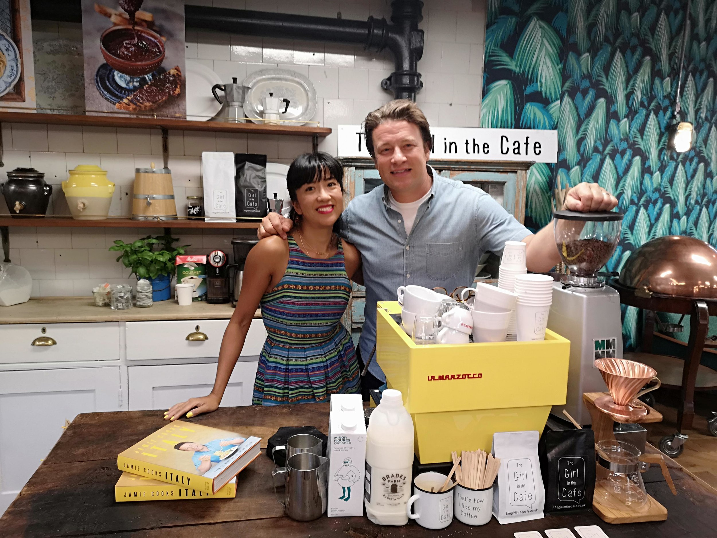 Jamie Oliver International Press Book Launch - Jamie Cooks Italy with mentor Gennaro Contaldo. Again I was invited to make and supply TGITC coffee from my coffee-collab (with The Roastery Dept) for Jamie's international press launch for his impressive new book, Jamie Cooks Italy.Again, it was an absolute blast, especially using a vivid yellow La Marzocco Mini. Busy but great!