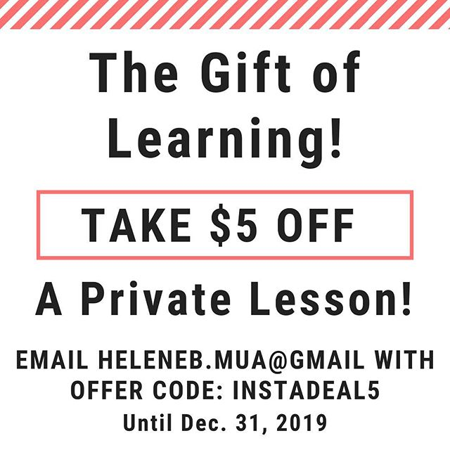 Private Lessons are available! Adult or teen lessons! ————— Email code: InstaDeal5 now through the month of December! ————— #christmasgift #christmasmakeup #makeup #makeupgift #giftcertificate #makeupartist #makeuplesson #lesson #privatelesson #helenebmakeupartist #mua #newjerseymakeupartist #holidaygift #holidayshopping #holidaydeals #discount