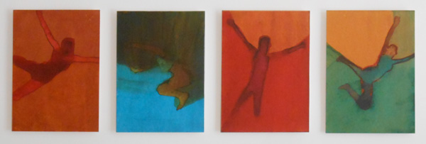 Four Studies I   2015  , ink on board, 18  x 1  3 cm