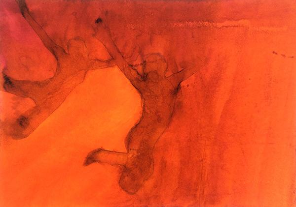 Two Figures II 2015 , ink on board, 22  x 31  cm