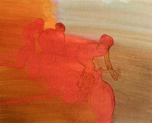 Flying II 2015,  ink on board, 24 x 30 cm