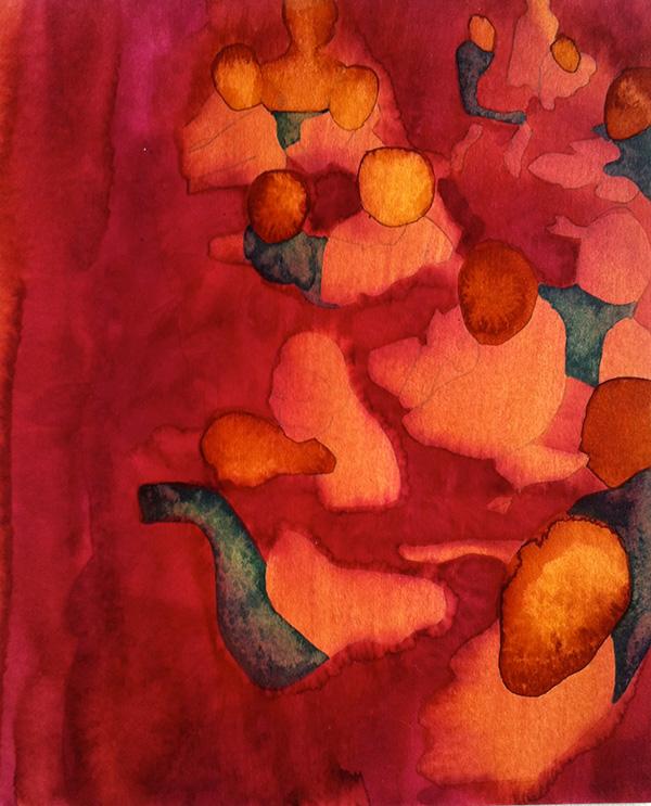 Figures V,  ink on board, 25 x 21 cm